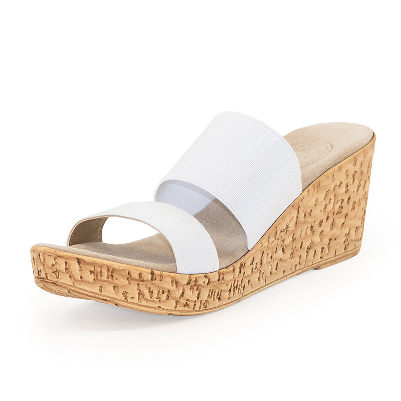 Lido, white wedges sandals, cork wedge sandals | Charleston Shoe Company