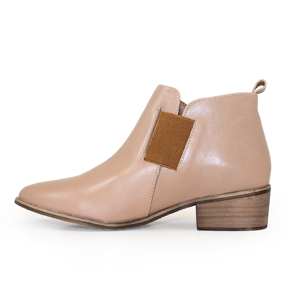 Middleton side view, leather ankle booties | Charleston Shoe Company