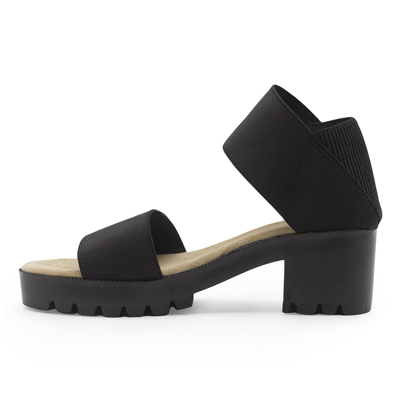 Monterey side view, black sandal | Charleston Shoe Company