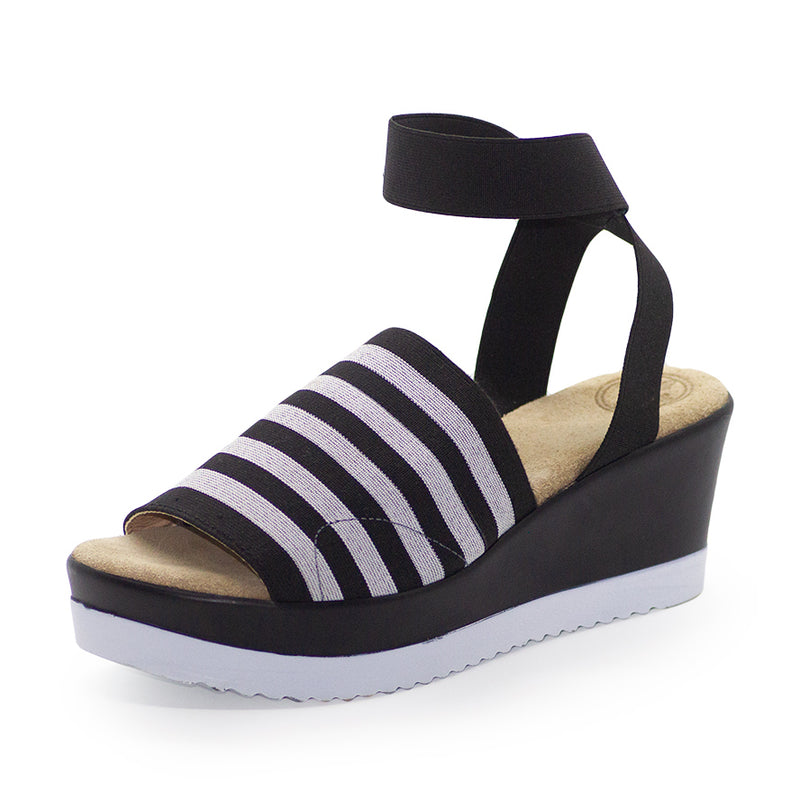 Palm, black sandals, black and white sandals | Charleston Shoe Company
