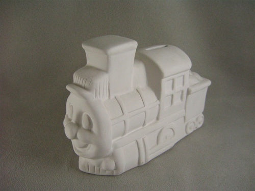 Kids will choo-choo-choose to save money with this train bank!  This is such a fun pottery piece to paint!