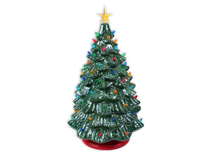 "Light up your tabletop this season with the 18"" Lighted Christmas Tree! This ceramic Christmas tree comes with a light kit that includes base light bulb, colorful mini lights and yellow star tree topper. The tree base is separate so it is easier to paint, fire and assemble."