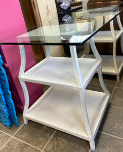 Glass Pedestal Storage Desk