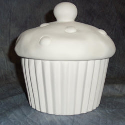 A classic ceramic cupcake box, great for cookies, trinkets, and more! 6H in. X 6W in.