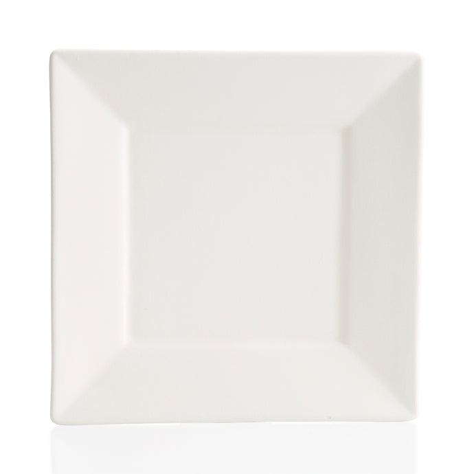 This Angled Rim Dinner Plate is 10.5 inches square. Angled corners give this square  a modern look.  There are endless possibilities for painting this pottery piece!
