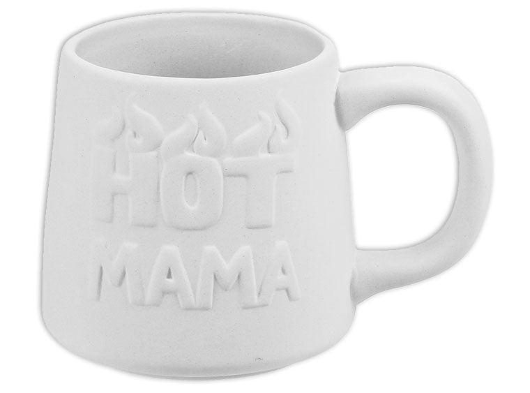 For all those Hot Mama's out there, we have the perfect ceramic mug for you! Paint your very own bisque Hot Mama Mug and personalize it with your favorite colors! Customers are sure to love this bold mug!