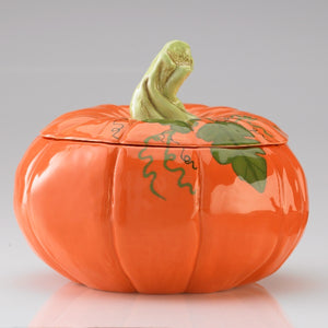 Our Pumpkin Tureen is a festive home decor accent.  Sized right to serve soups and stews for autumn or harvest entertaining, fall parties, Halloween events, and Thanksgiving dinner.