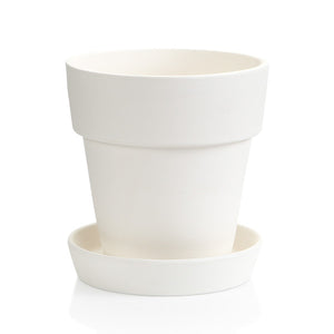 This classic Ceramic Medium Flower Pot with Saucer has a basic contemporary look with a large rim for painting and matching saucer.