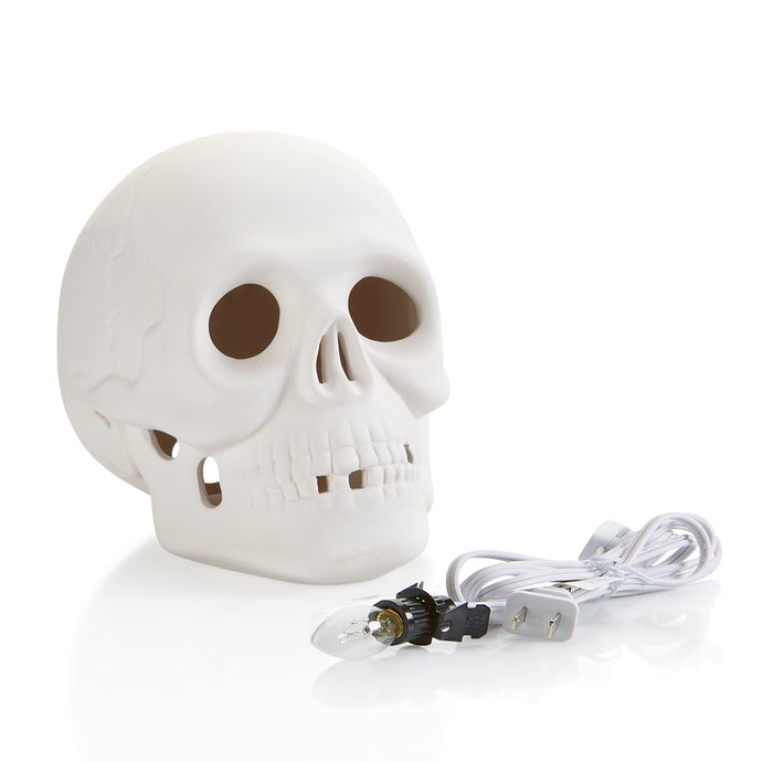 Our Skull Light-up comes with a hole in the back which fits our easy to use clip-in light kit (also included). The skull is easy to paint, we painted ours with a coat of brown (try Happy Trails, 2313) so it seeps into the cracks, and then wipe it off, leaving most of the color in the cracks and a very faint layer over the rest. The look is oh-so spooky!