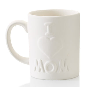 The ceramic I Love Mom Mug is a simple mug with a lasting message! What an easy way to let Mom know how much she's loved...and be reminded every morning during her cup of coffee or tea. This mug has raised letters and a heart for easy painting, perfect for kids to decorate.