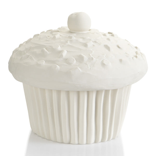 The size of this ceramic cupcake is irresistible! So life-like you can almost taste it! Perfect on a counter as a cookie jar, as a center piece at a party, or just as a statement piece in a home. If you love cupcakes, you'll surely love to paint this piece.