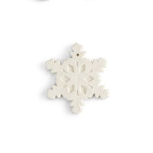 Load image into Gallery viewer, This flat snowflake ornament has all the detail you're looking for in a snowflake, with a flat back ideal for adding a personal message, a name, or simply including the year. Our ornaments are also very versatile. They can be used on a gift as a name tag, around a wine bottle for a decorative accent, and the hole at the top make them easy to hang. FUN TIP: Drill a hole in the side of our napkin holder and attach a string to the ornament. Tie the ornament string through the hole in the napkin holder, and you