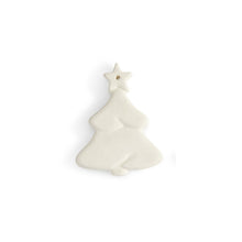 Load image into Gallery viewer, This flat tree ornament is a simple ornament with just enough detail. The tree shows layers of branches and a star on top, and has a flat back ideal for adding a personal message, a name, or simply including the year. Our ornaments are also very versatile. They can be used on a gift as a name tag, around a wine bottle for a decorative accent, and the hole at the top make them easy to hang. FUN TIP: Drill a hole in the side of our napkin holder and attach a string to the ornament. Tie the ornament string thr