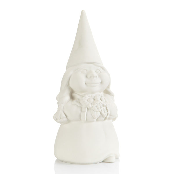 Hilda the Gnome is a great match for our ceramic Medium Gnome, who is just about the same size. She carries with her a beautiful bouquet of flowers making her an appealing garden accessory.