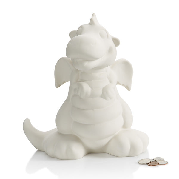The Dragon Biggy Bank pottery painting piece is an adorable character boys (and girls) will adore!