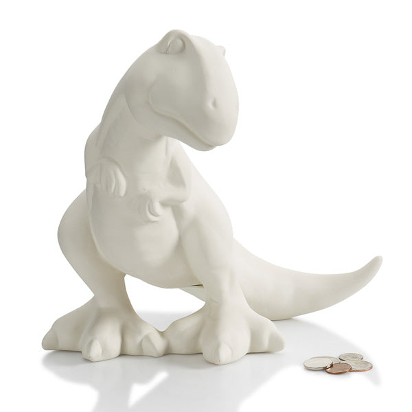 The T-Rex is an ideal character for those interested in painting ceramic dinosaurs! He's a friendly dinosaur with a down turned head, and smiling face!