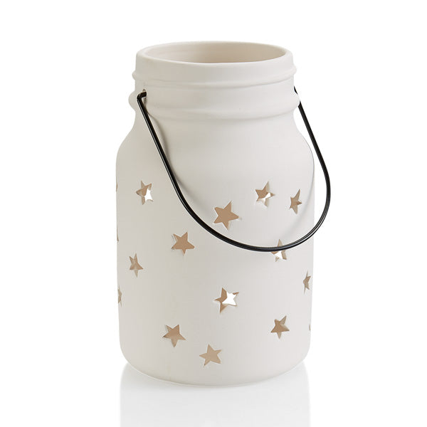 The Large Ceramic Star Jar Lantern is a jumbo version of the  popular jar mug with little star cut-outs all over and a hanger. Add a tea light inside the jar and hang it up or leave it on a table and see a perfect soft glow emit from the stars. It's a great home decor gift to paint for so many occasions.