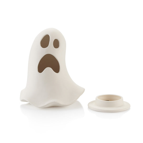 The Ghost Lantern is the spookiest and coolest addition to anyone's Halloween! The ghost sits on a base which holds a tea light perfectly. Simply lift off the ghost to reveal the base. The light illuminates through the eyes and mouth of the ghost for a haunting feel! Don't forget to order our Battery Operated Tea Lights #6432 to have on hand for customers when they purchase a lantern.