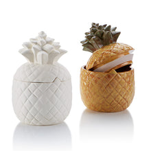 Load image into Gallery viewer, The Pineapple Canister is perfect on a counter as a cookie jar, as a centerpiece at a party, or just as a statement piece in a home.The Pineapple is a tropical fruit which is also an emblem of welcome and hospitality. During the Chinese New Year, the pineapple represents wealth, luck, and excellent future. This Pineapple Canister comes with a gasket for a tight seal.  What a great pottery piece to paint!