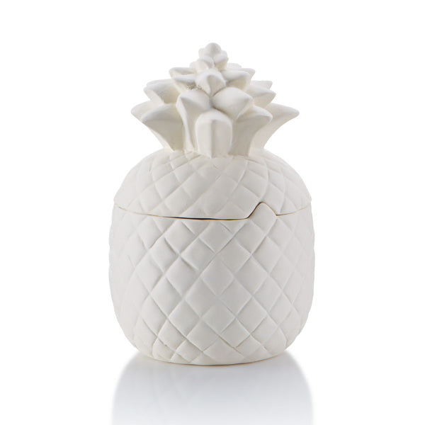 The Pineapple Canister is perfect on a counter as a cookie jar, as a centerpiece at a party, or just as a statement piece in a home.The Pineapple is a tropical fruit which is also an emblem of welcome and hospitality. During the Chinese New Year, the pineapple represents wealth, luck, and excellent future. This Pineapple Canister comes with a gasket for a tight seal.  What a great pottery piece to paint!