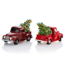 Load image into Gallery viewer, This beautiful Vintage Truck with Tree is stunningly painted in bright and cheery Fun Strokes colors or with pottery glazes for a more vintage look. This is sure to be a holiday favorite!  It comes with multi-color pin lights and a clip-in light kit (7 watt bulb).