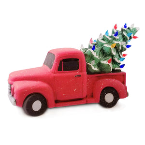 This beautiful Vintage Truck with Tree is stunningly painted in bright and cheery Fun Strokes colors or with pottery glazes for a more vintage look. This is sure to be a holiday favorite!  It comes with multi-color pin lights and a clip-in light kit (7 watt bulb).