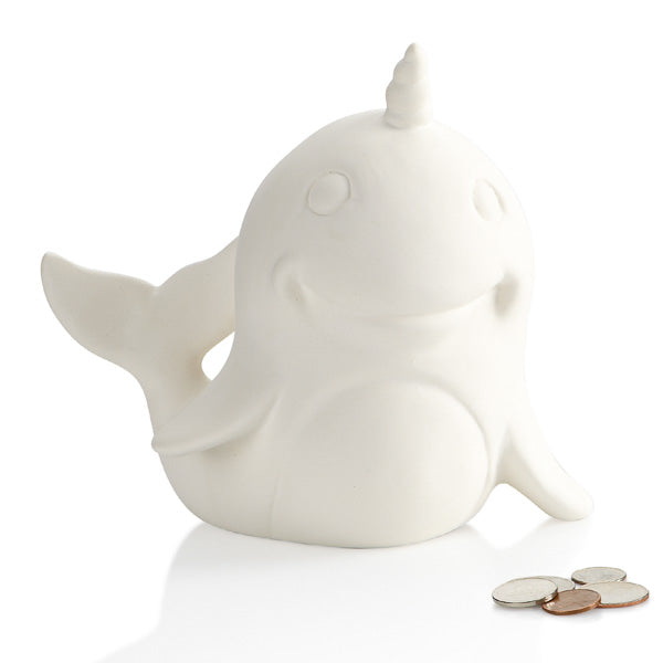 Narwhals Narwhals swimming in the ocean! Now a Ceramic Narwhal you can bank on! You won't be able to resist singing along while you paint this adorable unicorn of the sea.