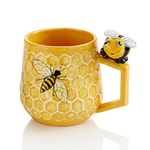 Load image into Gallery viewer, The 12 oz ceramic Honeycomb Mug has a raised textured honeycomb pattern that looks great!   These stylish mugs will make you feel closer to nature with each sip!  Paint it with the bumble bee topper too!