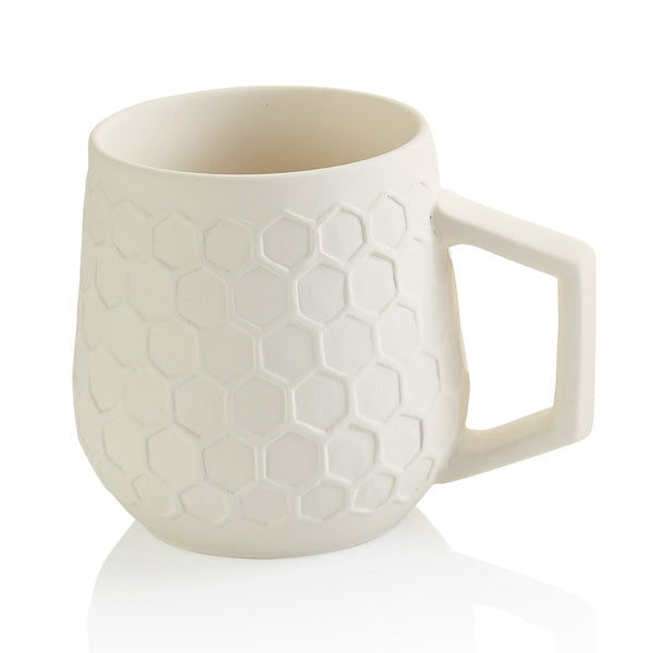 The 12 oz ceramic Honeycomb Mug has a raised textured honeycomb pattern that looks great!   These stylish mugs will make you feel closer to nature with each sip!  Paint it with the bumble bee topper too!