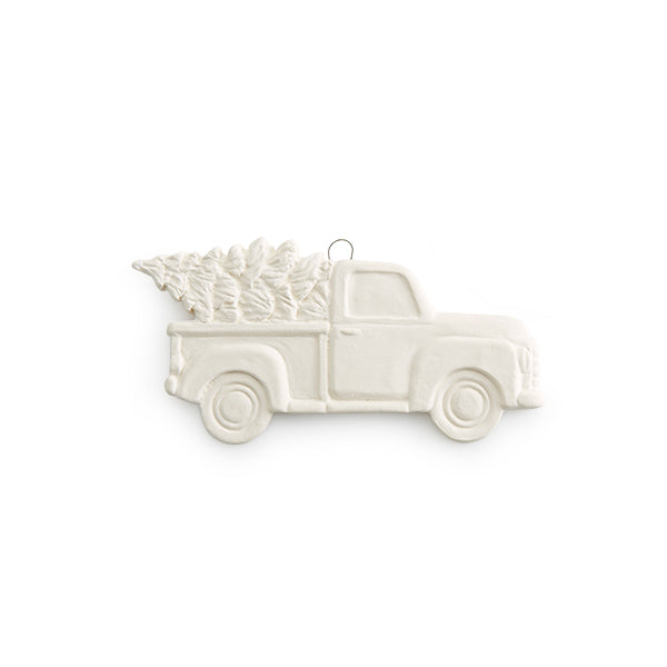 Our popular Truck with Tree is now a Flat Ornament! The Truck with Tree theme is still going strong for at least another season. This ornament is sure to be popular. Combine it with our other Tru ck with Tree pieces for a themed gift or party.