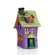 Load image into Gallery viewer, Our Haunted House Lantern is spooktacularly fun to decorate for Halloween! The lantern features a two-story haunted house design with window, door, chimney and slanted board accents.  The haunted house lantern would look so festive on a window sill, mantel, or as a table centerpiece for a Halloween party.  Use with our changing color tea lights #6435 for an eerie glow.
