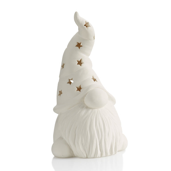 Our Tall ceramic Hatted Gnome Lantern can be painted for any season and fit in with any decor!