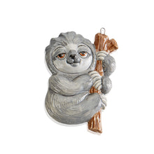 Load image into Gallery viewer, Did you know... sloths earn their sluggish name by sleeping for up to 18 hours a day! Our Sloth Ornament is a fun ornament for your holiday tree or anytime. Combine it with the Sloth Party Animal and the Sloth Bank.