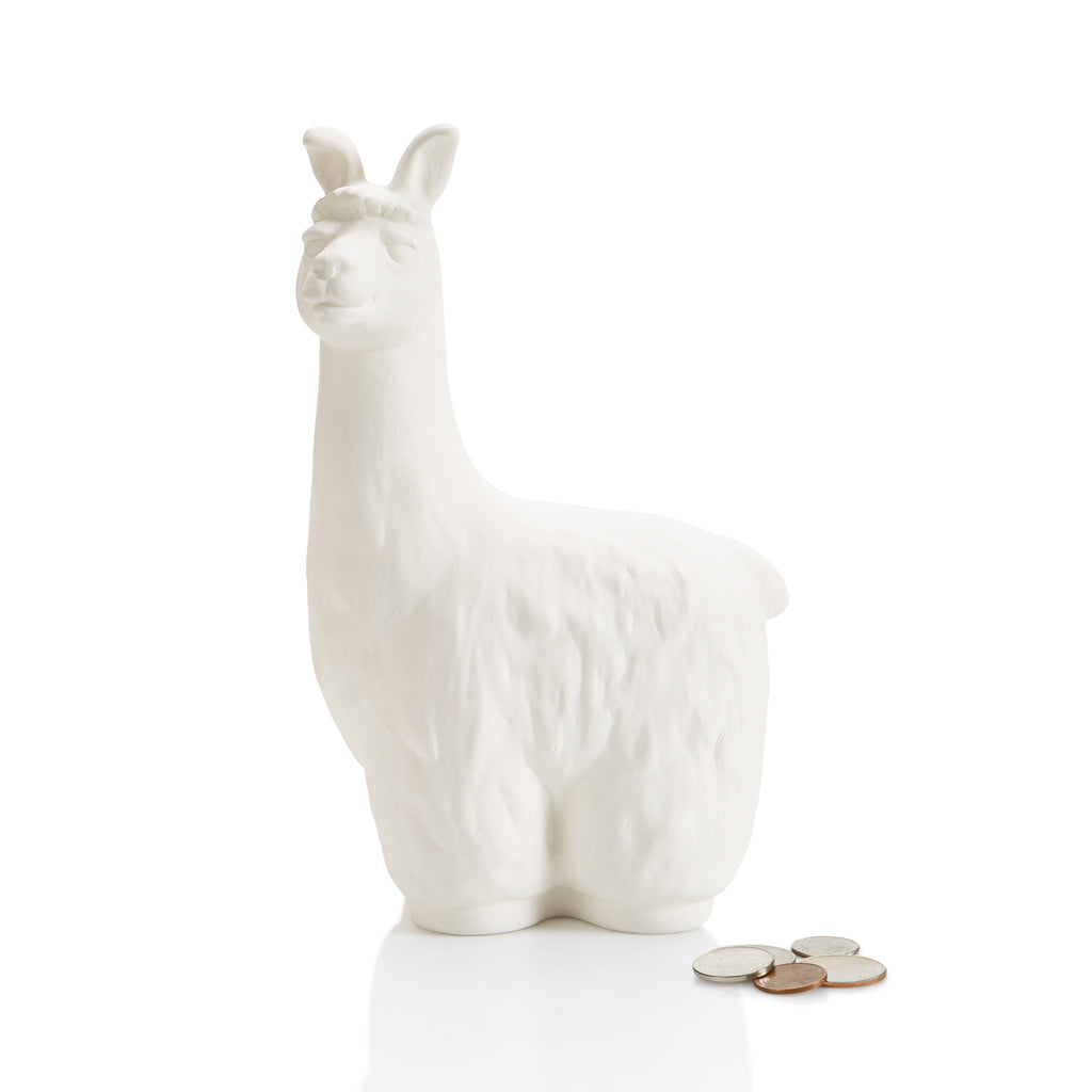 The Llama BIGGY Bank is a great pottery piece for painting, teaching and saving! Did you know... Llamas make excellent guards for herds of small animals. They are very social and will 'adopt' a group of sheep or goats as their own herd. Then they will protect the herd by chasing off coyotes and other predators.