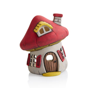 This delightful, whimsical ceramic Mushroom House Lantern is just waiting for the fairies to move in!  Undercoats or Acrylic Paints both work beautifully on this piece