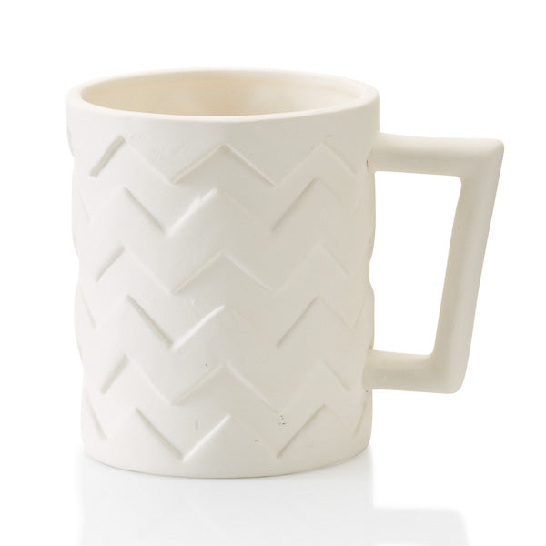 Chevron is one of the biggest pottery design trends!  The relief pattern makes painting a breeze, and the size is ideal for all beverages, hot or cold! The unique square handle of this ceramic piece incorporates the angled design and offers a fun element!