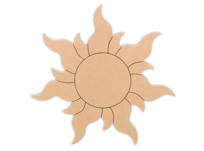 This Sun Shape makes mosaic and mixed media crafts easy. Add tiles, grout, paint, and more to create a one-of-a-kind creative masterpiece. This shape is made from high quality MDF board.  Project Tile Surface Area 54