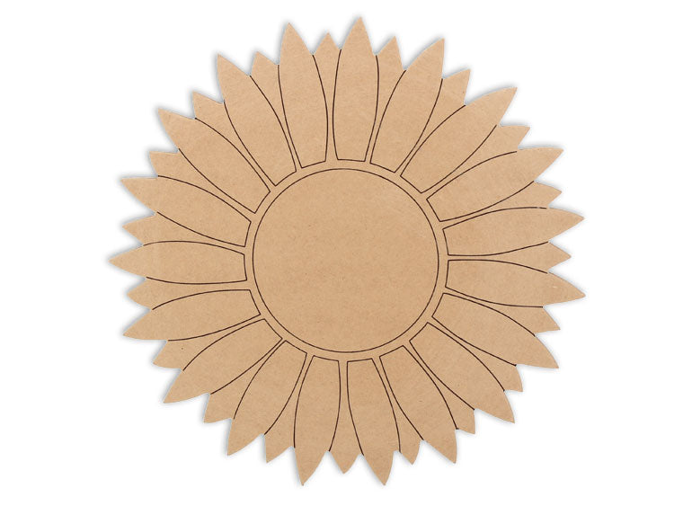 With this MDF piece you'll have a beautiful sunflower that'll never wither!  This sunflower plaque makes mosaic and mixed media crafts easy. Add tiles, grout, paint, and more to create a one-of-a-kind creative masterpiece. This shape is made from high quality MDF board.