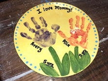 Load image into Gallery viewer, This Coupe Dinner plate fits more conveniently in cupboards. It has a lightweight, simple, sleek design with a smooth surface.  It's a ton of painting this pottery piece!  In this sample we painted a handprint Mother's Day  plate.