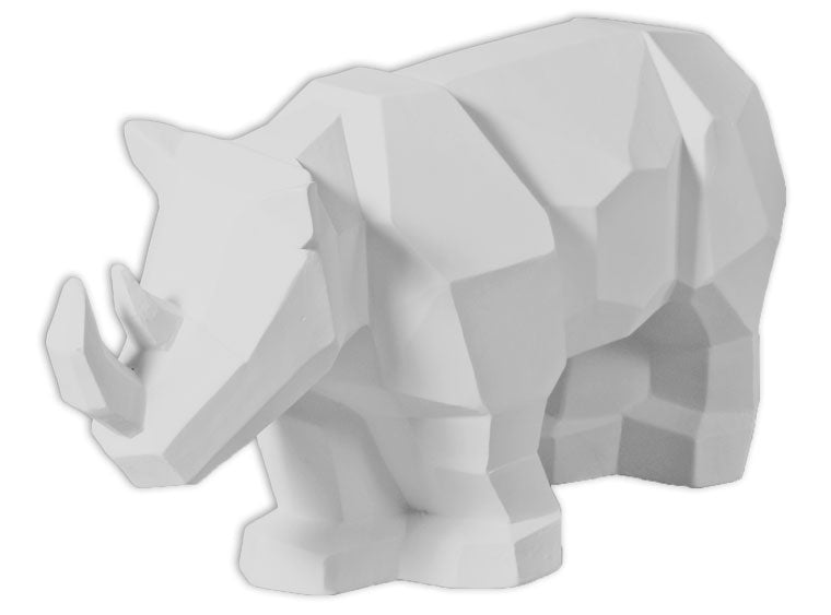 Ceramic Faceted and geometric pottery is on the trend! This Faceted Rhino can be painted with a variety of colors, or with a simple glaze for an awesome home accent.