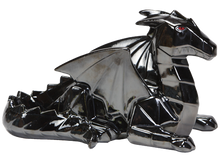 Load image into Gallery viewer, Faceted and geometric pottery is on the trend! This Faceted Ceramic Dragon can be painted with a variety of colors, or with a black glaze for an awesome home accent.