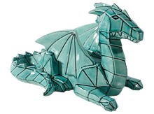 Load image into Gallery viewer, Faceted and geometric pottery is on the trend! This Faceted Ceramic Dragon can be painted with a variety of colors, or with a green glaze for an awesome home accent.