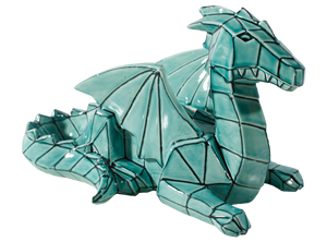 Faceted and geometric pottery is on the trend! This Faceted Ceramic Dragon can be painted with a variety of colors, or with a green glaze for an awesome home accent.