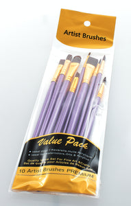 10 Pack of Artist Brushes