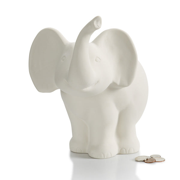 This Elephant Biggy Bank is adorable with his big ears, smiling mouth, and upturned trunk. He's a great pottery painting piece for both boys and girls!