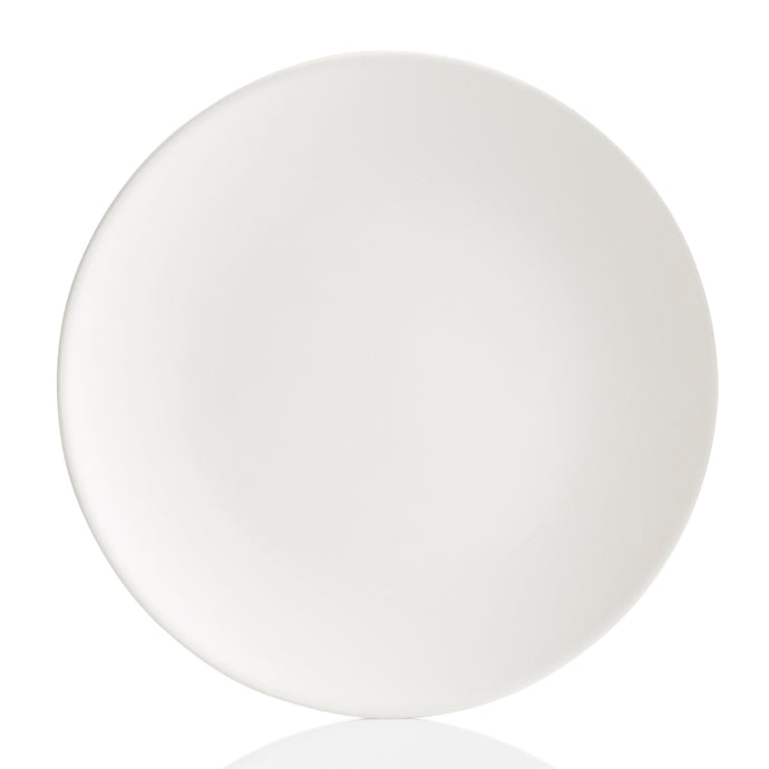 This Coupe Dinner plate fits more conveniently in cupboards. It has a lightweight, simple, sleek design with a smooth surface.  It's a ton of painting this pottery piece!