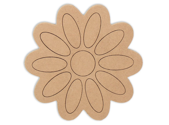 This Daisy Shape makes mosaic and mixed media crafts easy. Add tiles, grout, paint, and more to create a one-of-a-kind creative masterpiece. This shape is made from high quality MDF board.  Project Tile Surface Area 24