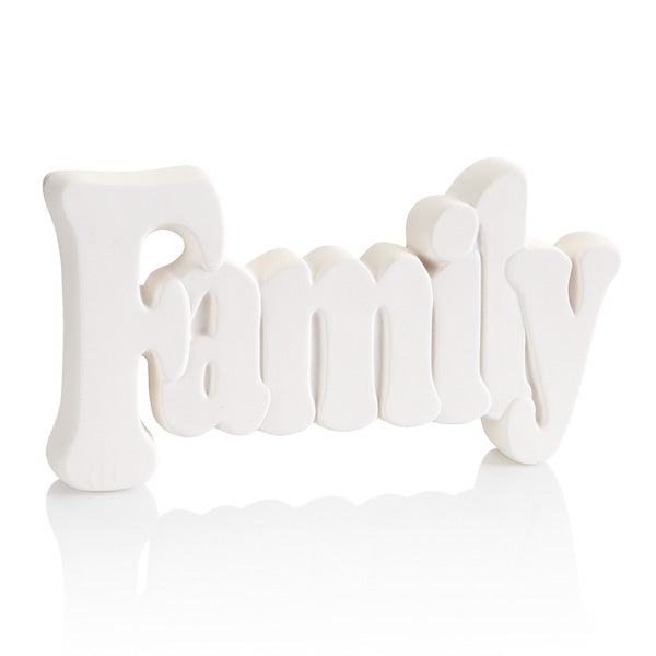 The Family Word Ceramic Plaque is great as a gift, a holiday decoration, or decor for a shelf or table throughout the year. This pottery painting plaque stands up by itself because of its 1