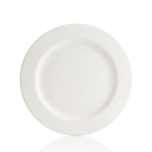 "This plate fits conveniently in a cupboard. It has a lightweight, simple design with a 1 1/2"" rim around the edge. The Rims are a broadline of pottery painting dinnerware, ranging from salad plates to large platters. Ideal for a simple monogram, handprints, or a classic design to compliment the traditional rim."