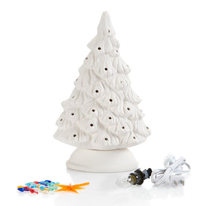 "The 11 1/4"" ceramic Shelf Christmas Tree is sized just right to fit on a shelf, mantle, windowsill, you name it! Its narrow, including the base, so it sits nicely, but from the front still looks like a regular shaped Christmas Tree.  Paint it green, pink, teal, white, or any color you want!   It comes with multi-color pin lights and a clip-in light kit (7 watt bulb)."